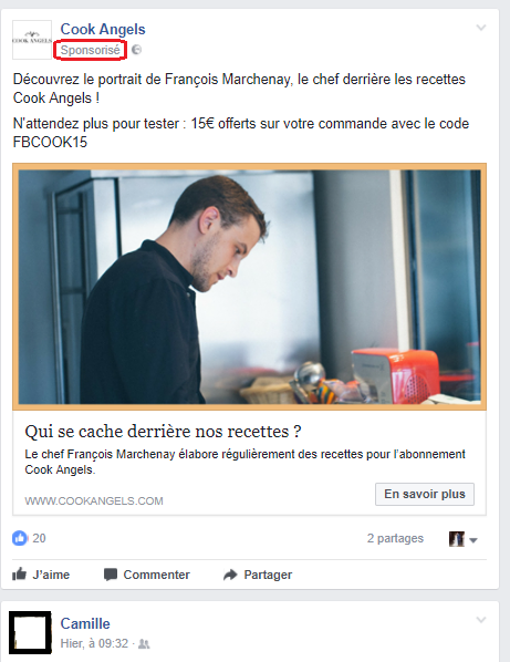 Native advertising: exemple de Facebook
