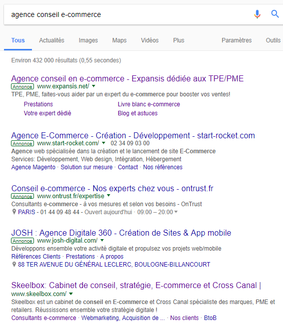 Native advertising: exemple de Google